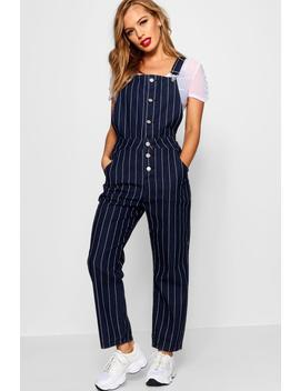 Petite Jen Stripe Button Front Dungaree by Boohoo