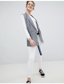 Bershka Pin Stripe Sleeveless Blazer by Bershka