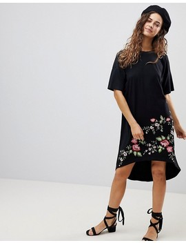 Asos Design Embroidered Hem T Shirt Dress With Hi Lo Hem by Asos Design