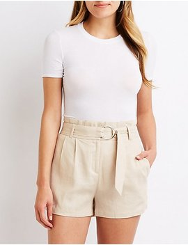 O Ring Paperbag Shorts by Charlotte Russe