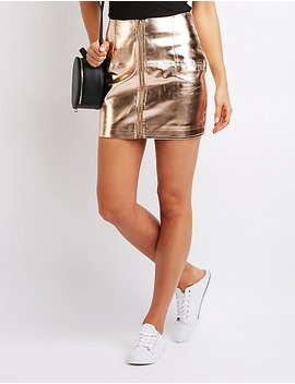 Metallic Zip Up A Line Skirt by Charlotte Russe