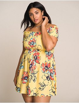 Plus Size Floral Off The Shoulder Skater Dress by Charlotte Russe