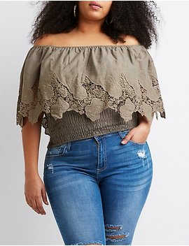 Plus Size Off The Shoulder Smocked Top by Charlotte Russe