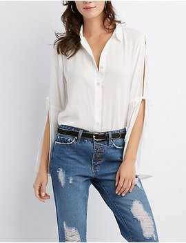 Tie Sleeve Button Up Top by Charlotte Russe