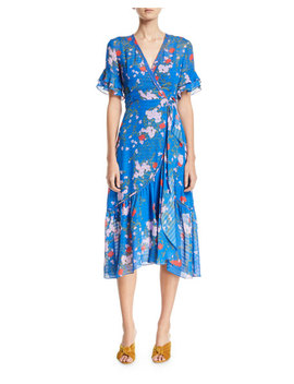 Blaire Floral Print Silk Wrap Dress by Tanya Taylor