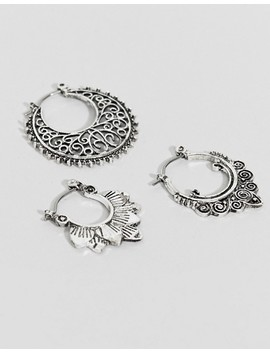 Asos Design Pack Of 3 Cut Out And Engraved Hoop Earrings by Asos Design