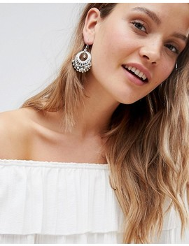 Asos Design Engraved Burnished Bead Hoop Earrings by Asos Design