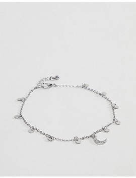 Asos Design Disc And Moon Charm Anklet by Asos Design