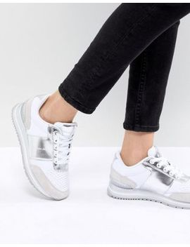Calvin Klein Tanya White And Silver Chunky Trainers by Calvin Klein