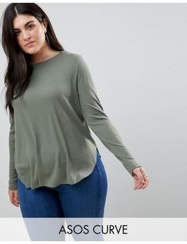 Asos Design Curve Long Sleeve Top With Curved Hem In Rib by Asos Curve