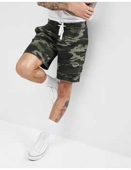 Hollister Camo Print Icon Seagull Logo Sweat Shorts In Olive Green by Hollister