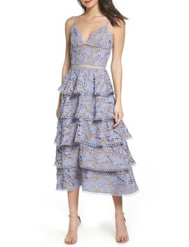 Camellia Lace Tiered Midi Dress by Sau Lee