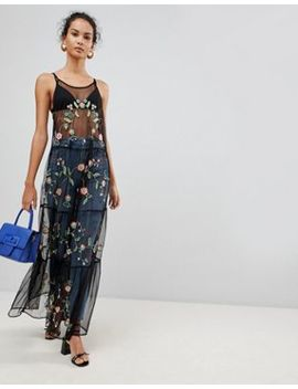 Glamorous Embroidered Mesh Maxi Dress by Glamorous
