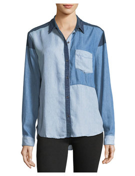 Zoey Colorblocked Button Front Chambray Shirt by Rails