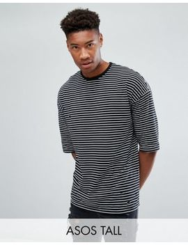 Asos Tall Oversized Stripe T Shirt With Distressing by Asos