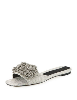 Flat Metallic Woven Slide Sandal With Floral Embroidery by Sanayi313