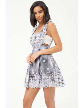 Gingham Eyelet Scalloped Dress by F21 Contemporary