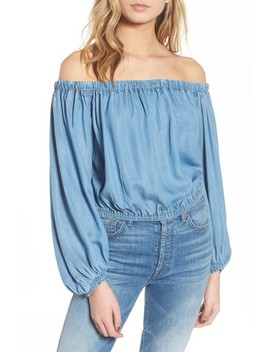 Blouson Off The Shoulder Denim Top by 7 For All Mankind®