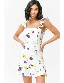 Floral Linen Blend Dress by F21 Contemporary