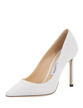 Romy Woven Leather 100mm Pump by Jimmy Choo