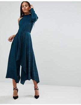Asos Design Tall Asymmetric One Sleeve Plisse Dress by Asos Design
