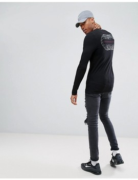 Asos Tall Muscle Long Sleeve T Shirt With Globe Back Print by Asos