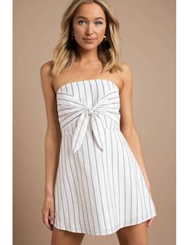 Serena Navy &Amp; White Strapless Skater Dress by Tobi