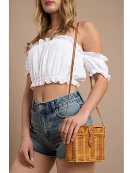 I'll Be Fine Tan Straw Crossbody Bag by Tobi