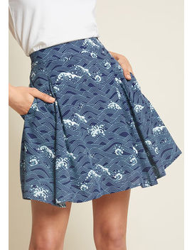 Stay Sassy Skater Skirt In Waves Stay Sassy Skater Skirt In Waves by Modcloth