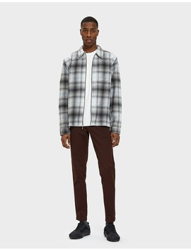Zip Up Crepe Plaid Ls Shirt In Grey by Need Supply Co.