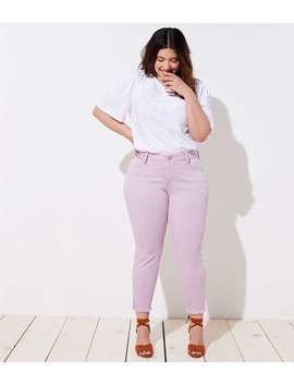 Loft Plus Slit Frayed Skinny Jeans In Lush Lilac by Loft
