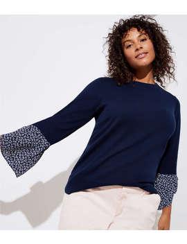 Loft Plus Floral Tie Cuff Mixed Media Sweater by Loft