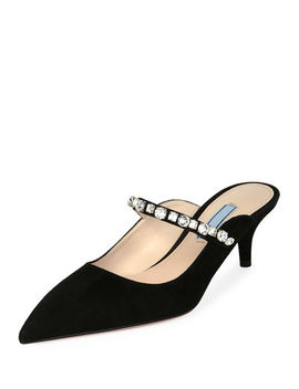 Suede Mule With Jeweled Strap by Prada