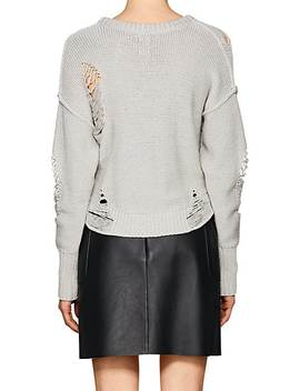 Shredded Cotton Blend Scoopneck Sweater by Nsf