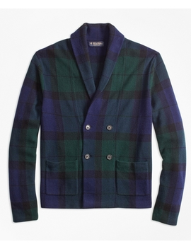 Wool And Cashmere Black Watch Cardigan by Brooks Brothers