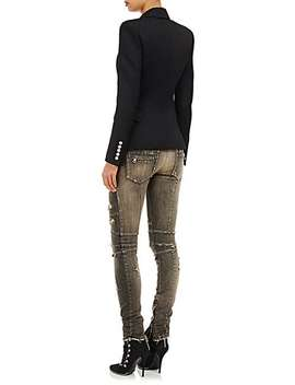 Distressed Skinny Moto Jeans by Balmain