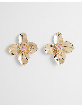 Large Metal Flower Post Back Earrings by Express