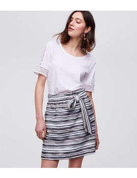 Stripe Belted Pull On Pocket Skirt by Loft
