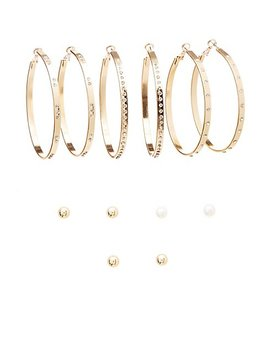 Embellished Stud &Amp; Crystal Earrings   6 Pack by Charlotte Russe