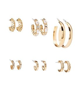 Faux Pearl &Amp; Crystal Hoop Earrings   6 Pack by Charlotte Russe
