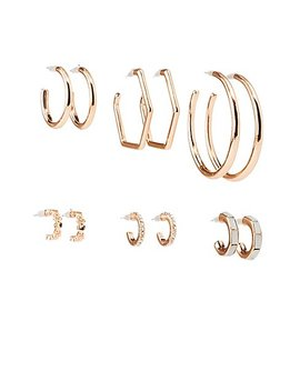 Crystal &Amp; Geometric Hoop Earrings   6 Pack by Charlotte Russe
