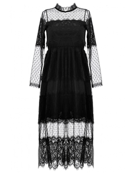 Gorgeous Black Lace Midi Tulle Dress by Oasap