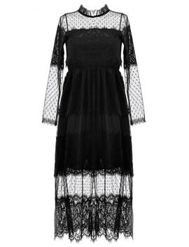 gorgeous-black-lace-midi-tulle-dress by oasap