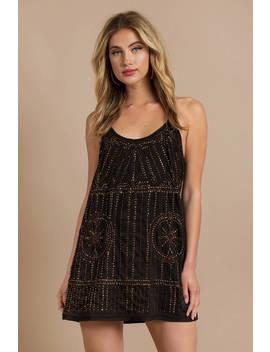 Free People Sedona Black Embellished Slip Dress by Tobi