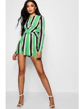Joanna Striped Twist Front Playsuit by Boohoo