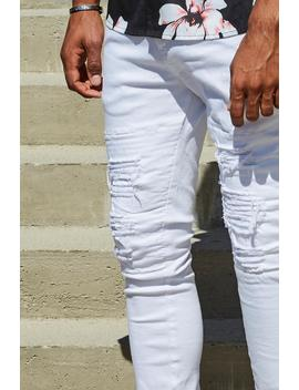 French Montana Super Skinny White Distressed Biker Jeans by Boohoo