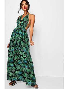 Penny Plunge Front Palm Print Maxi Dress by Boohoo