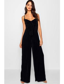 Tall Leah Drape Front Wide Leg Jumpsuit by Boohoo