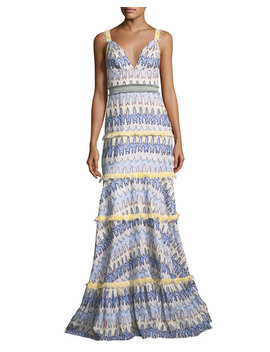 Robyn Deep V Sleeveless Tiered Printed Gown With Embroidery Trim by Alexis