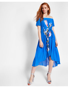 Harmony Pleated Dipped Hem Dress by Ted Baker